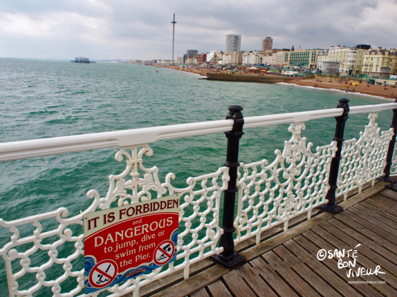 View of Brighton seafront and the West Pier from Brighton Pier