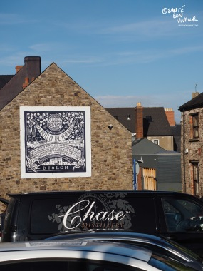 The Angel Hotel - a key focal point of Abergavenny - and a van from Chase Distillery - one of the food festival sponsors