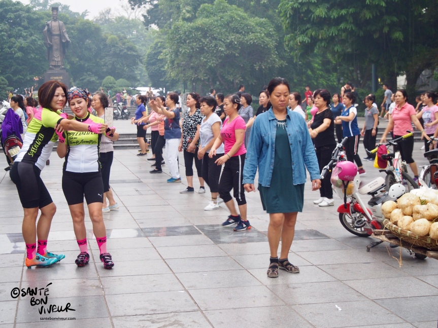 Women Doing an Early Morning Zumba Class in Central Hanoi, Vietnam, 2017