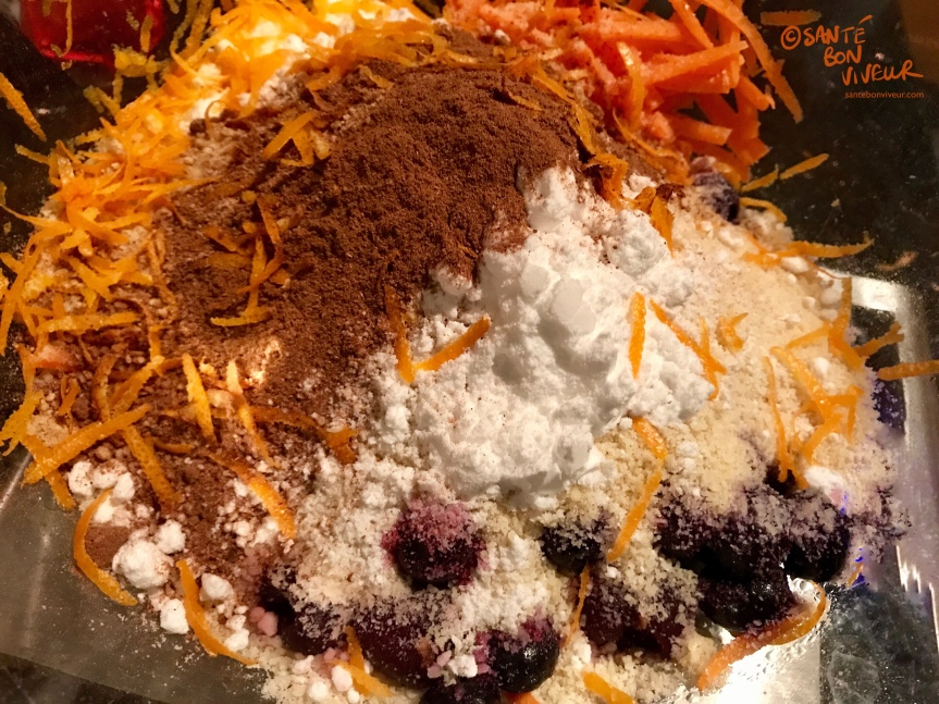 Low-Carb Christmas Pudding Ingredients - Carrots, Ground Almonds, Raw Cacao Powder, Cherries, Blueberries, Cranberries, Baking Powder - 2017. Gluten-free, no added sugar, no artificial sweeteners, vegetarian.