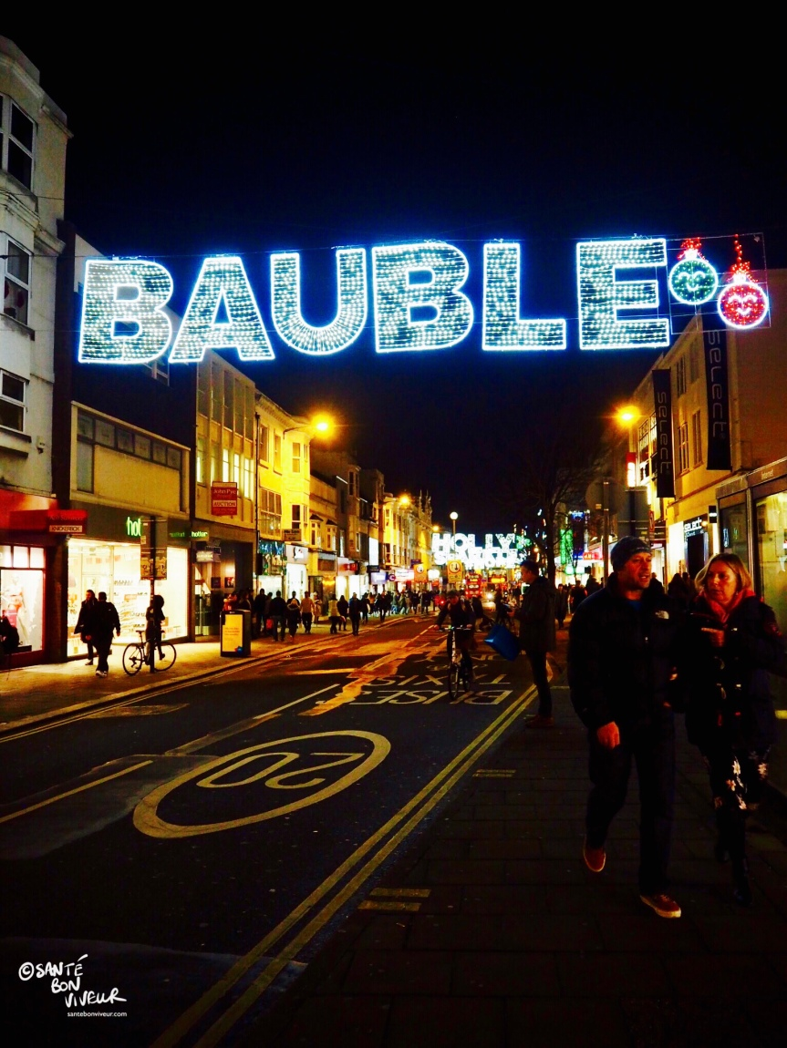 Bauble, Christmas Lights, Western Road, Brighton, England, UK, 2017